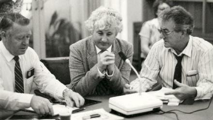 Bill Kelty, Tas Bull and unidentified other at the Maritime Union of Australia Summit