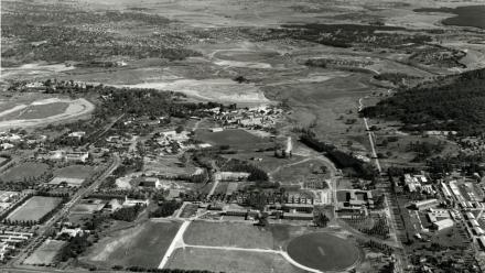 Aerial view of Canberra and the Australian National University, 1963 (ANUA15-117-1)
