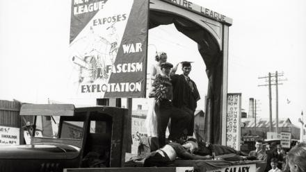 Parade float of the Communist Party of Australia's New Theatre League, c.1940s (P126-81-6)