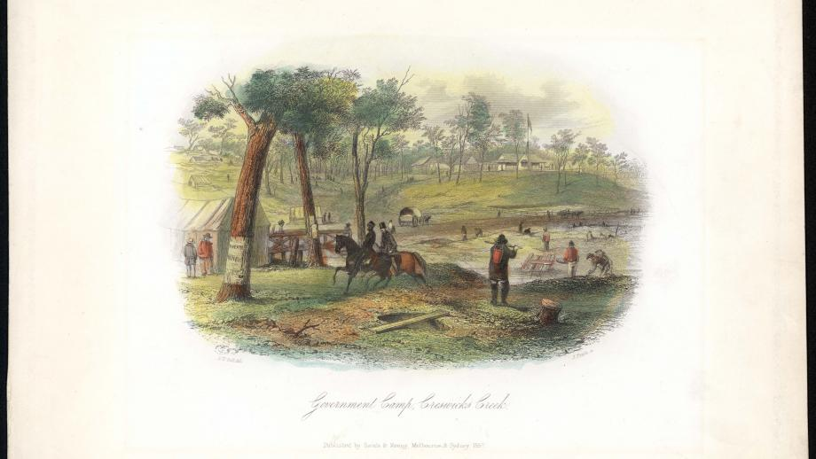 View of the Government Camp, Creswicks Creek, Victoria, S.T. Gill, 1857. Noel Butlin Archives Centre, 2-882-4, Goldsbrough Mort and Company Head Office and Station records.