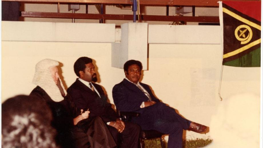 Independence celebrations with President Sokomanu, Prime Minister Walter Lini and Chief Justice Fred Cooke