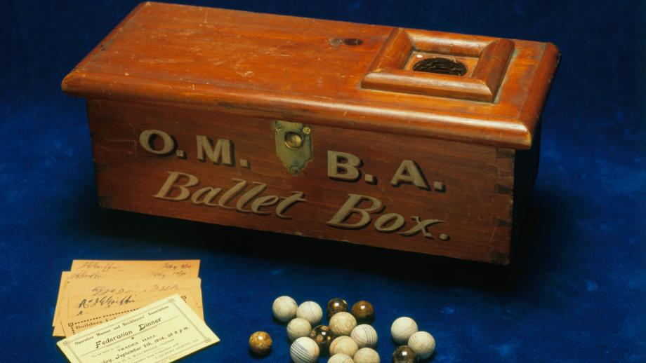 Operative Masons' and Bricklayers' Association South Australia Branch ballot box and voting marbles [c. early 1900s], E86-31, Operative Stonemasons' Society of Australia South Australian Branch deposit