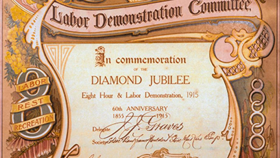 C - Eight Hours and Labor Demonstration Committee, Sydney 60th anniversary certificate presented to the Stove & Piano Frame Moulders & Stovemakers Employees' Union, 1915 (Artist: Edgar Whitbread, circa. 1915)