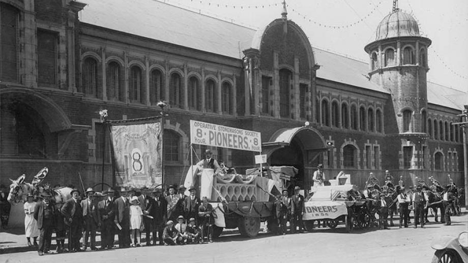 E86-30-3 Operative Stonemasons' Society of Australia SA Branch - Photograph of 8 Hour Pioneers Float, no date