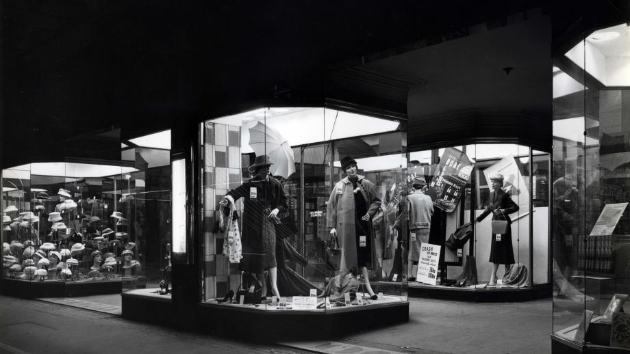 Lit window displays at McDowells Ltd store, Jack Hickson,1957. Noel Butlin Archives Centre, N249-28, McDowells Limited deposit.