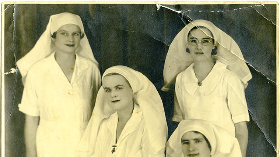 Spanish Relief Commitee nurses: Agnes Hodgson, May MacFarlane, Una Wilson, and Mary Lowson before departing for Spain