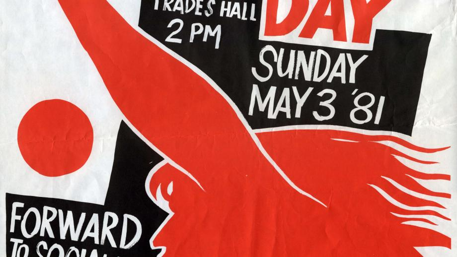 May Day poster, Rick Amor, 1981. Noel Butlin Archives Centre, P56-275-3, Miscellaneous Printed Material