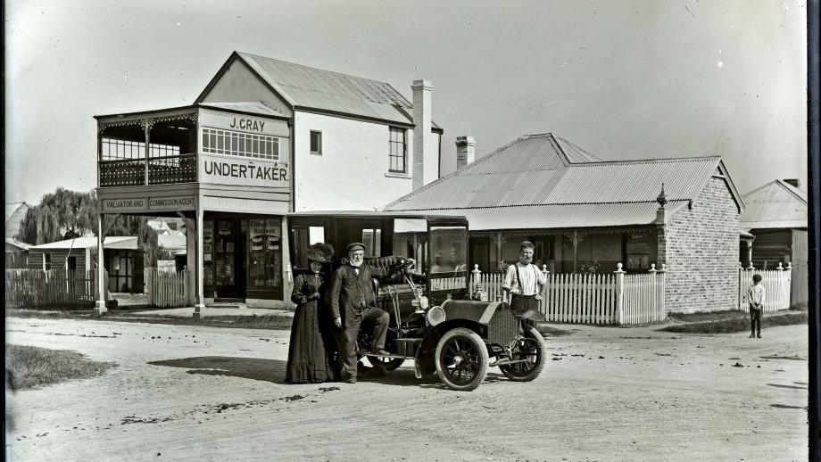 Photograph of Undertaker James Gray outside his Adamstown business, 1910 - courtesy of University of Newcastle Library