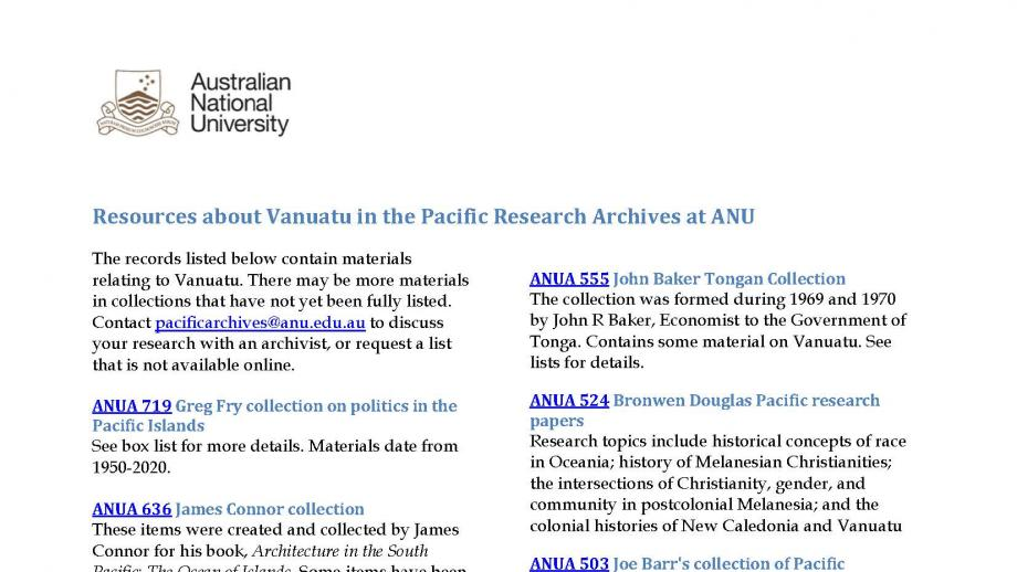 Vanuatu resources in the ANU Archives, page 1