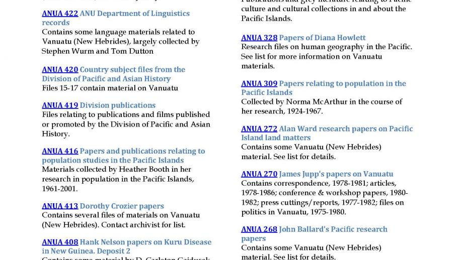 Vanuatu resources in the ANU Archives, page 2