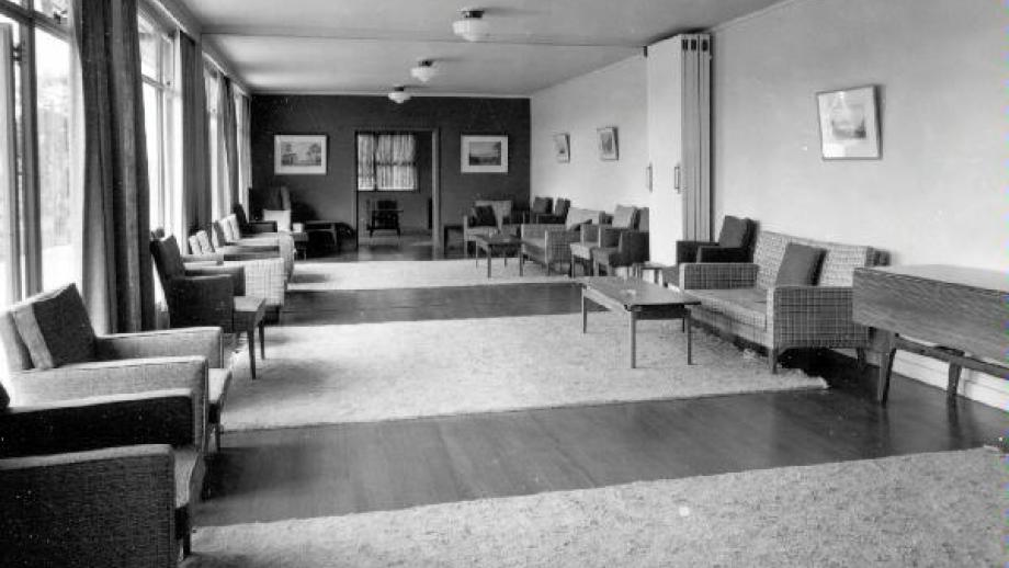 University House - Ladies Drawing Room, featuring furniture designed by Fred Ward. circa 1955