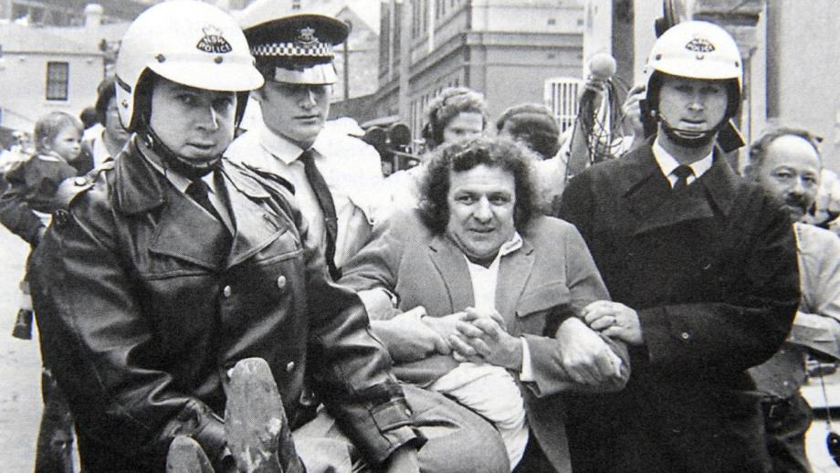 Jack Mundey being carried away by police from a protest in The Rocks, early 1970s (Photographer: Robert Pearce, Sydney Morning Herald)