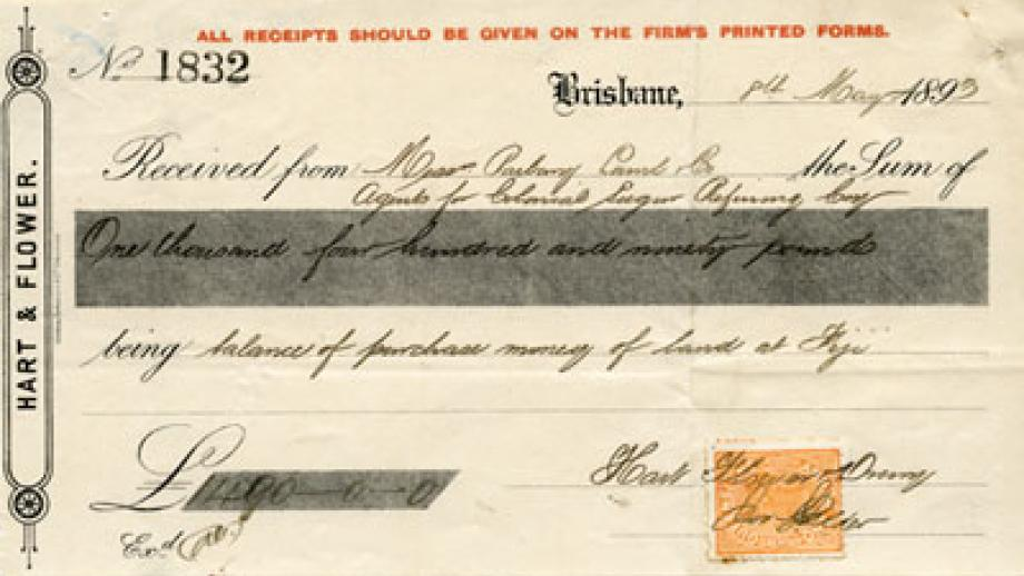Receipt for land purchased in 1893
