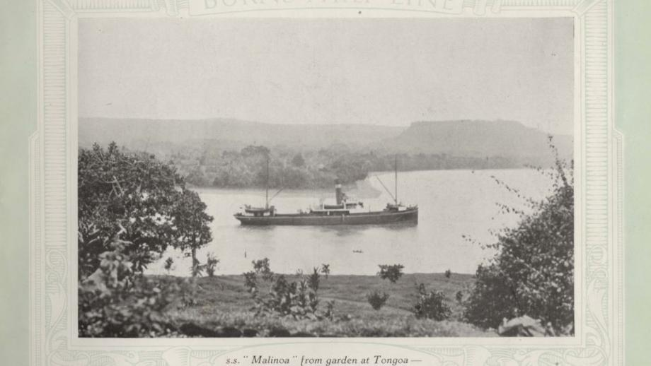 View of S. S. Malinoa from Tongoa with Santo in background