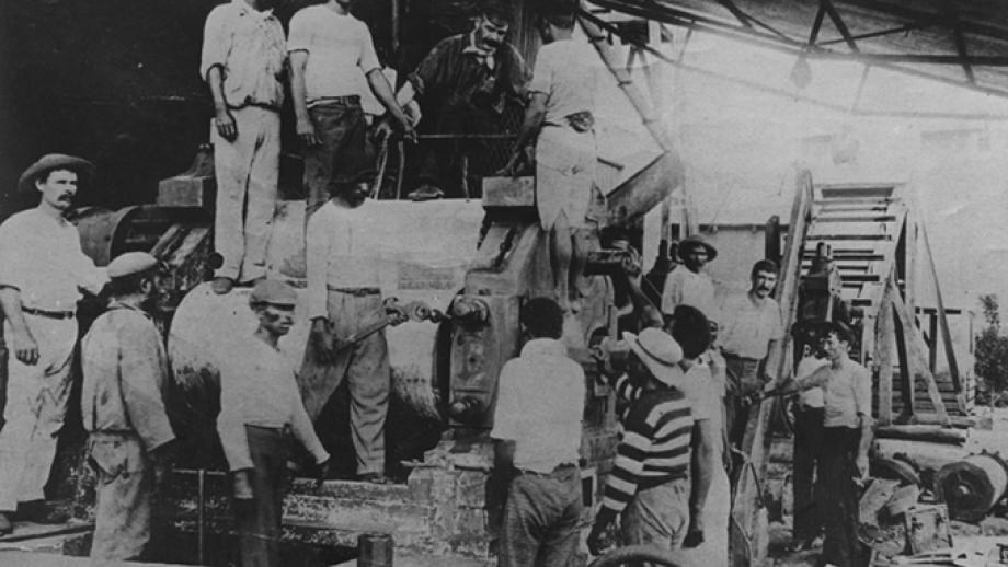 Group at cane carrier, Penang Mill, 1886