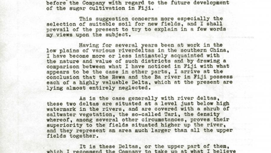 Report on the feasibility of irrigating the sugar fields of the Ba district, 1886