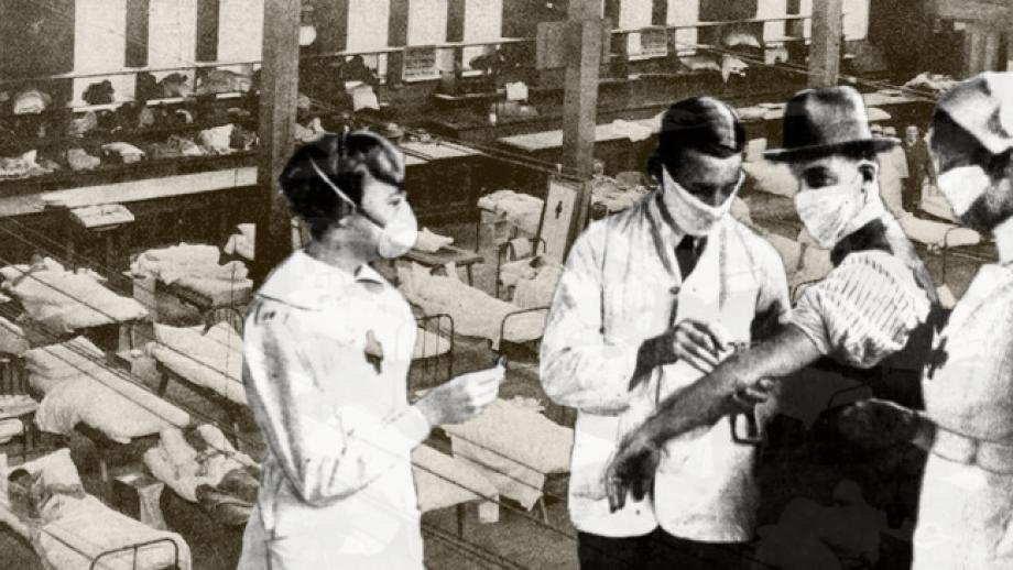 Historical photo of nurses and doctors dispensing a flu vaccine